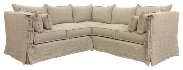Farmhouse Slipcovered Sectional with Arm Ties Farmhouse Sectional Sofas
