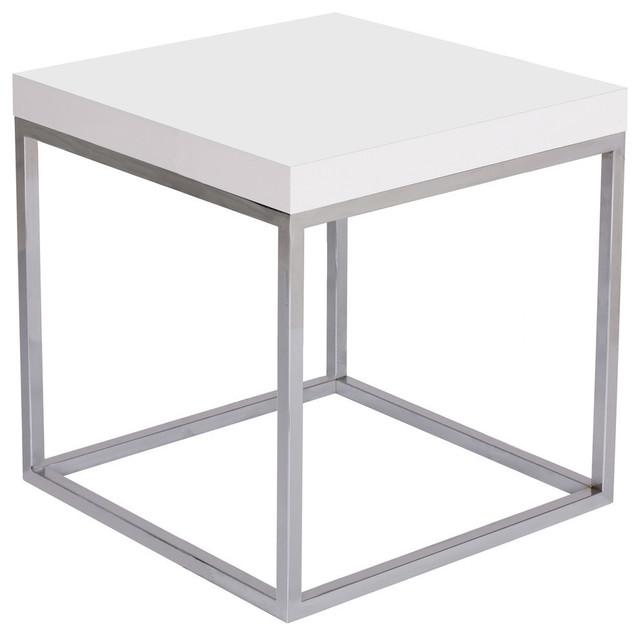 Prairie 20X20 End Table, High Gloss White Top / Chrome