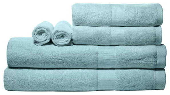 Bamboo Dreamy Blue Bath Towel Set modern towels