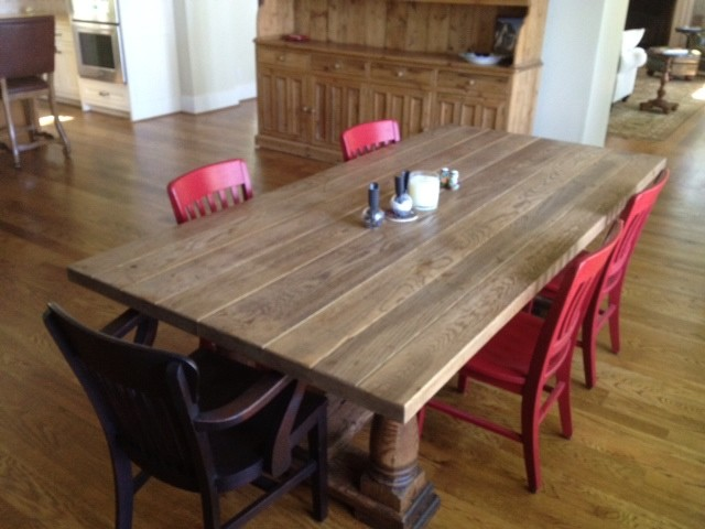 Antique Reclaimed White Oak Dining Table Traditional Dining Tables