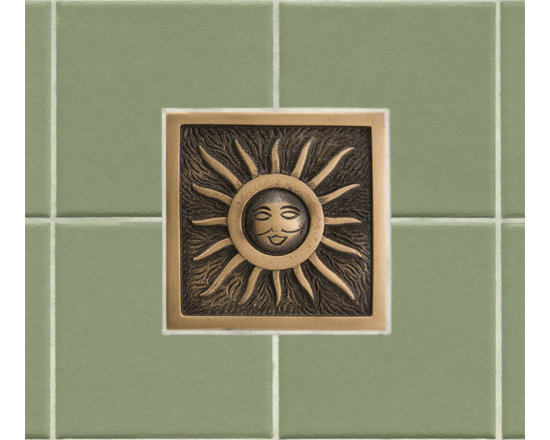 "Color! - This 4"" wall tile will features a whimsical sun design that is sure to brighten any kitchen or bathroom. Made of solid bronze, this tile is offered with an optional tile frame for a custom look."