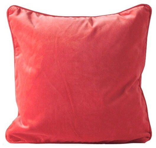 Small Coral Throw Pillows : Coral Velvet Pillow - Contemporary - Decorative Pillows - by The Paris Market