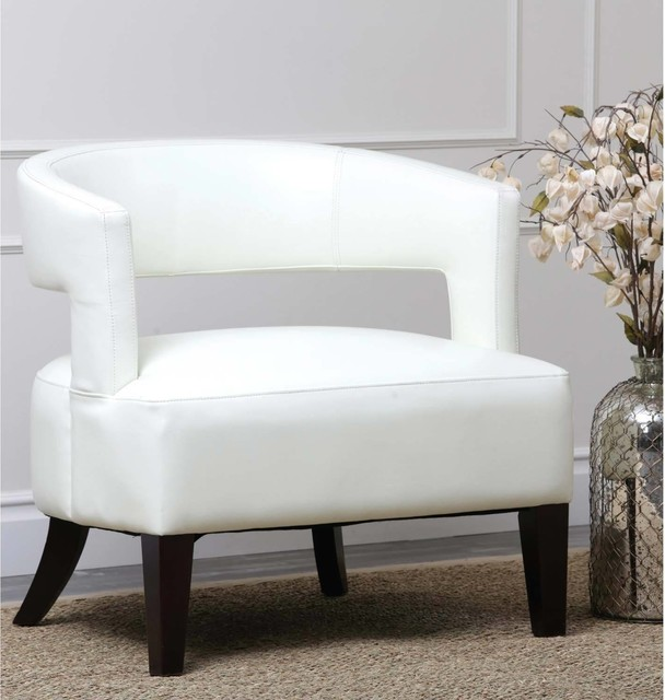 Abbyson Living Fulton Ivory Bycast Leather Armchair contemporary-armchairs-and-accent-chairs