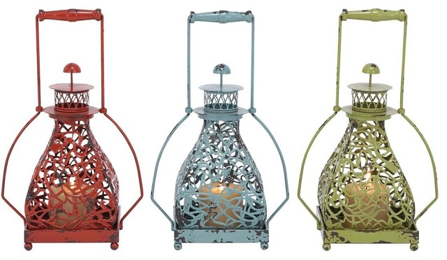 Metal Candle Holder 3 Assorted with Vibrant Colors traditional-candleholders