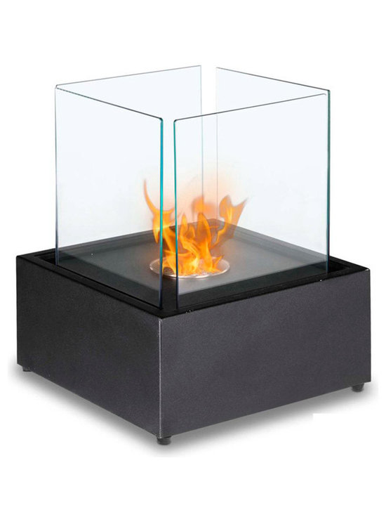 Moda Flame - Sevilla Table Top Ethanol Fireplace - The Sevilla ethanol contemporary table top personal fireplace creates an extraordinary ambiance in any setting with its steel square shape and set of four tempered glass panes. Ideal for all table, bar, or counter tops, patio and outdoors.