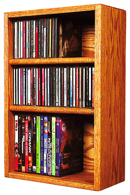 Solid Oak desktop or shelf for CD's and DVD's/ VHS Tapes - Modern - Media Racks And Towers - by ...