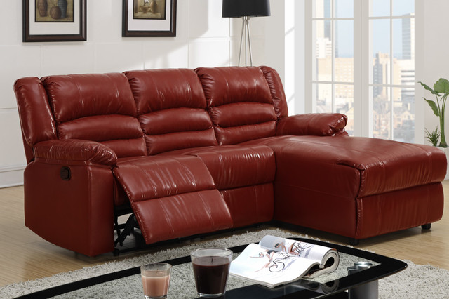 Small Burgundy Leather Reclining Sectional Sofa Recliner