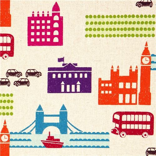 echino canvas designer fabric London beige from Japan  fabric
