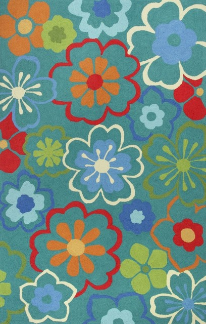 """Country & Floral Sonesta 1'8""""x2'6"""" Rectangle Blue Area Rug traditional-area-rugs"""