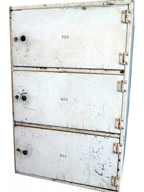 Meat Lockers - Pair of old meat lockers, open on one side and tops. I would put one on each side under a huge hunk of wood for a great desk, stack them and use them as open shelving, or use side by side with a slab of stone on top as a kitchen island.