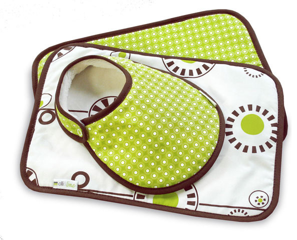 Bloom 3-piece Baby Bib and Burp Set, Green and Brown contemporary-baby-and-kids