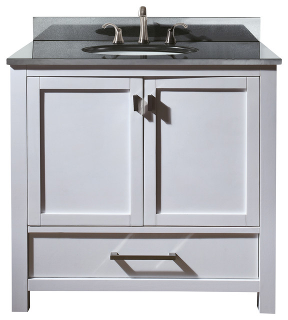 Modero 36 Vanity Combo White, Black Granite Top ...