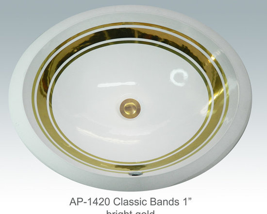 "Hand Painted Undermounts by Atlantis Porcelain - ""CLASSIC BANDS 1"" w/2 LINES"" Shown on AP-1420 white Monaco Medium undermount 17-1/4""x14-1/4""available on burnished gold or platinum and bright gold or platinum on any of our sinks."