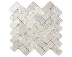 Cream Herringbone Stone Mosaic Tile modern-mosaic-tile