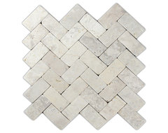 Cream Herringbone Stone Mosaic Tile modern-tile