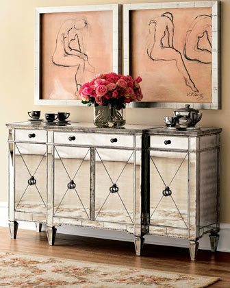Amelie Mirrored Console contemporary-buffets-and-sideboards
