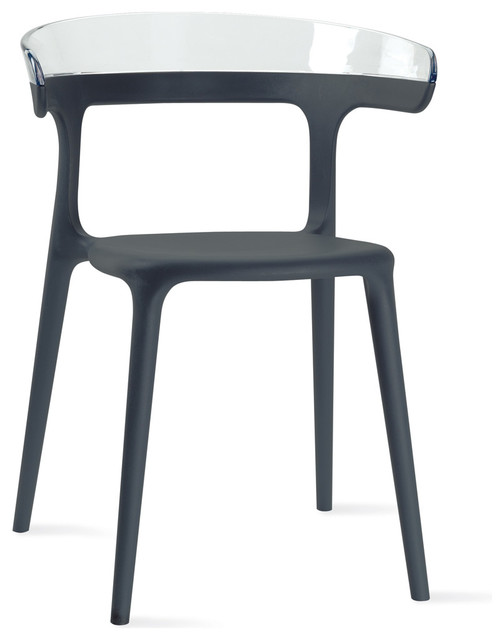 Luna Chair - Set of 4, Anthracite / Back Transparent Clear contemporary-chairs