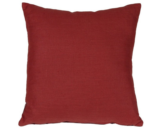 Pillow Decor - Pillow Decor - Tuscany Linen Red 17 Throw Pillow - The Tuscany Linen Red 18x18 Throw pillows are 100% linen with a soft natural linen touch and texture. Available in a range of colors and sizes, these linen pillows are ideal solid color accent pillows for your bed or sofa. Mix and match to complement other accent colors in your home.