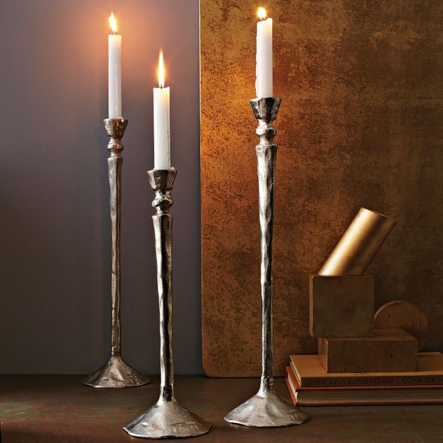 Rustic Cast Aluminum Tapers contemporary candles and candle holders