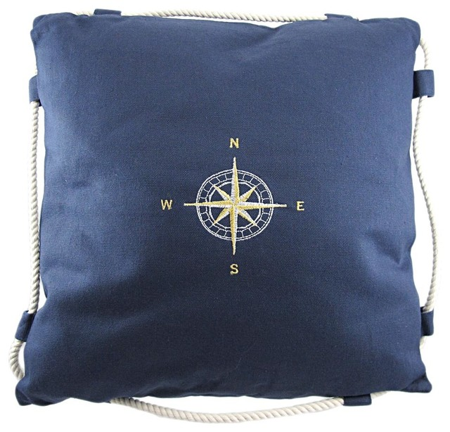 Decorative Pillows In Navy Blue : Navy Blue Embroidered Compass Rose Throw Pillow - Traditional - Decorative Pillows - by Zeckos