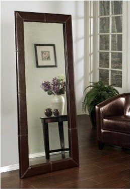 Large Leather Floor Mirror - Brown - 31W x 70H in. modern-mirrors