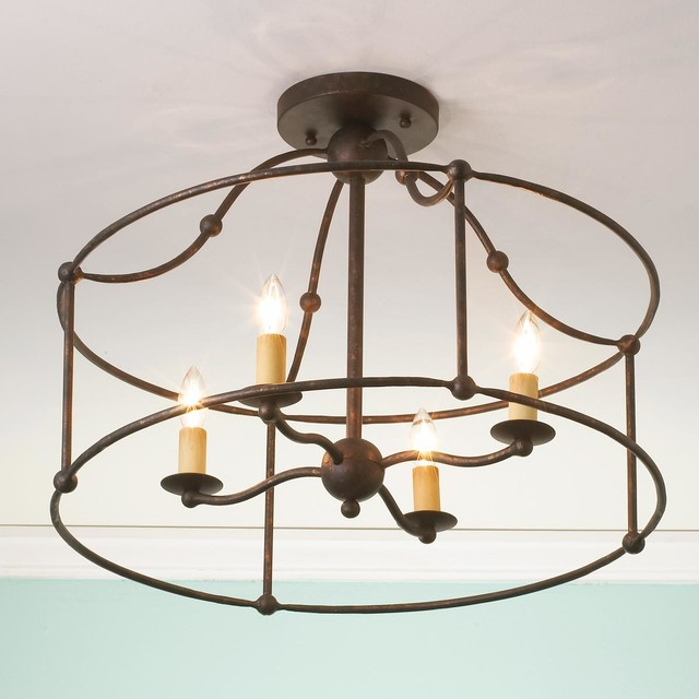 Wrought Iron Frame Ceiling Lantern Ceiling Light - by Shades of Light