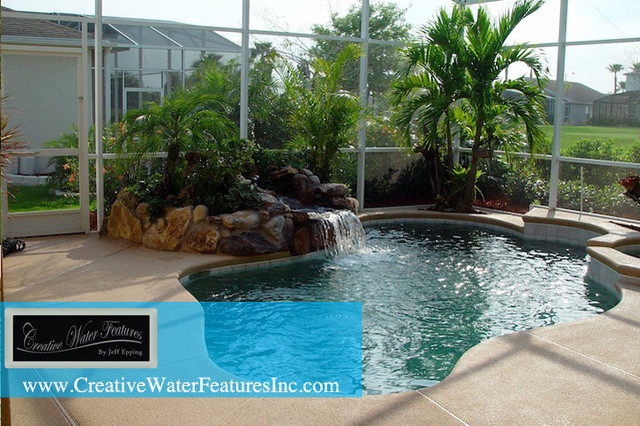 Small pool waterfall orlando by creative water for Pool design orlando