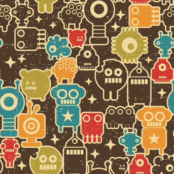 Removable Wallpaper - Cute Robots - Eclectic - Wallpaper - by ...