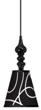 "7 1/2"" Wide Abstract Black Mini Pendant contemporary-pendant-lighting"