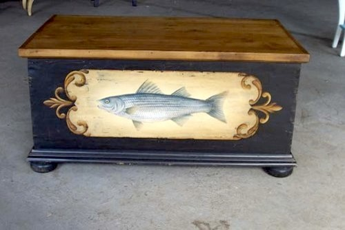 Old Pine Bedroom Chest With Painting Of Striped Bass farmhouse-dressers-chests-and-bedroom-armoires