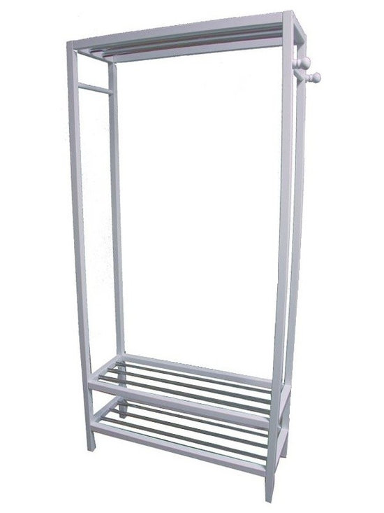ORE International - White Hanger and Shoe Rack Stand - No more leaving extra clothes on the floor and missing shoes around. Place extra clothes and shoes on this unique clothes hanger combine with shoe racks to organize the house. Includes side bars for scarves and ties. Made of wood composite and steel in white for stability and durability. Easy assembly.. Dimensions: 33.5 in. L x 12.75 in. W x 65.25 in. H ( 12.75 lbs. )