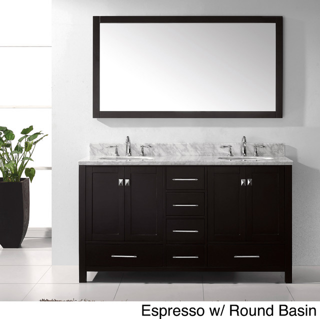 Virtu USA Caroline Avenue 60-inch Double Sink Bathroom Vanity Set contemporary-bathroom-vanities-and-sink-consoles