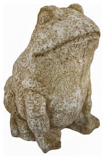 Stone Finish Bullfrog Outdoor Garden Statue Frog traditional-garden-statues-and-yard-art
