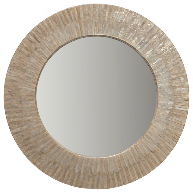 Round Capiz Seashell Sunray Wall Mirror - beach style - mirrors