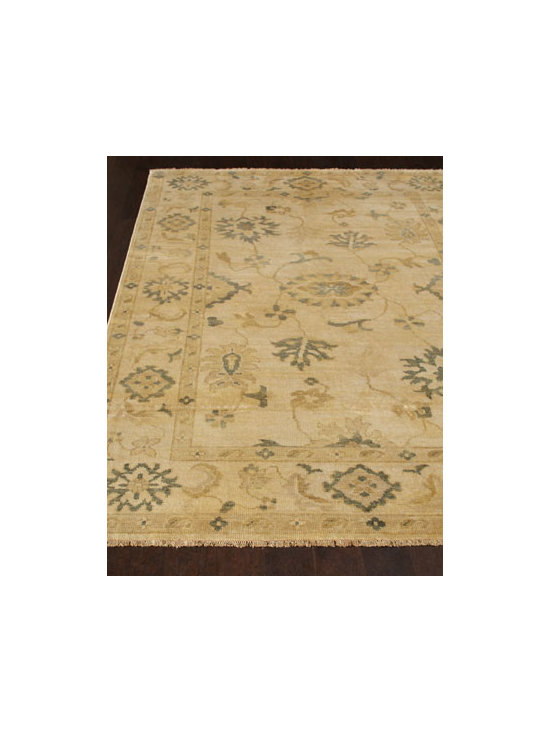 "Exquisite Rugs - Exquisite Rugs ""Bayless"" Oushak Rug - Traditional vine and leaf motifs highlighted in sand and stone make this handmade rug the perfect choice for any room. Durable and intended for foot traffic. Hand knotted of wool on a cotton foundation. Hand trimmed. Washed for an antiqued appearance. Sizes are approximate. Imported. See o"