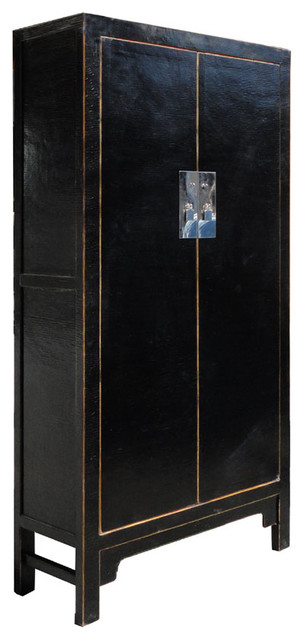 Black Chinese Silk Paint Tall Armoire Cabinet contemporary-furniture