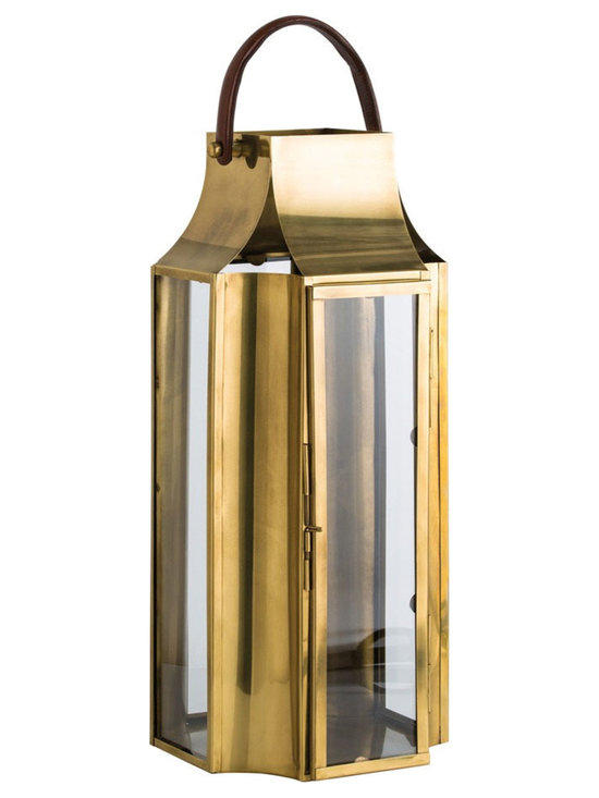 Arteriors Home - Hailey Lantern - Hailey Lantern features Antique Brass finish and clear glass pillar holder with genuine saddle brown leather handle. Holds a 6 inch pillar or can be filled with several smaller diameter candles creating staggered flame patterns. Available in two sizes. Small: 12 inch width x 12 inch depth x 16.5-21.5 inch height. Large: 12.5 inch width x 12.5 inch depth x 27-31.5 inch height.
