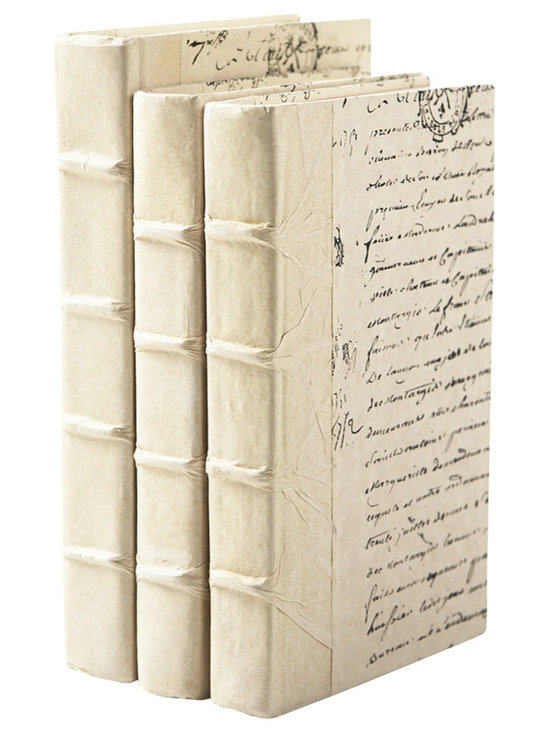 Go Home - Ivory Book- set of 3 - With beautiful texture and old-world craftsmanship, these ivory books offer a time-worn choice to dress your shelves or coffee table. Classic raised bands on the spine give it a lovely detailed look. Delicate script adorns the cover. Sizes vary.