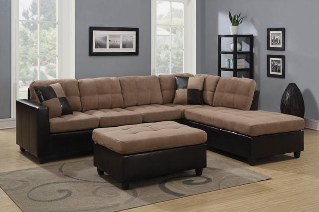 Coaster Casual Tan Microfiber Leather Sectional Sofa