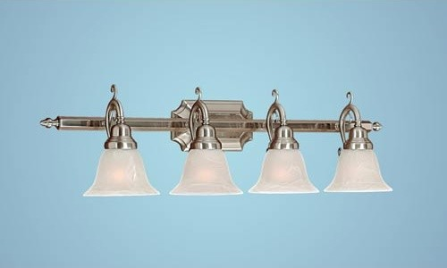 Satin Nickel Four-Light Bath Light with Faux Alabaster Glass modern-bathroom-lighting-and-vanity-lighting