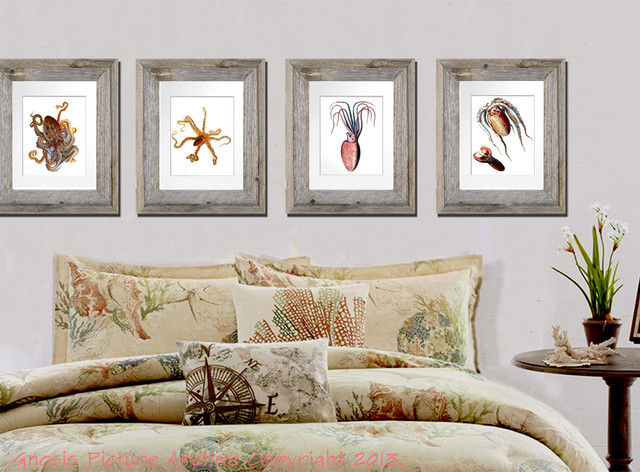 Set of 4 unframed Sea Life Beach House / Kids Room / Bathroom