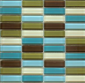 """Lush 1/2x2"""" Modern Mini Glass Subway Tile Blend Big Sur modern-tile"""
