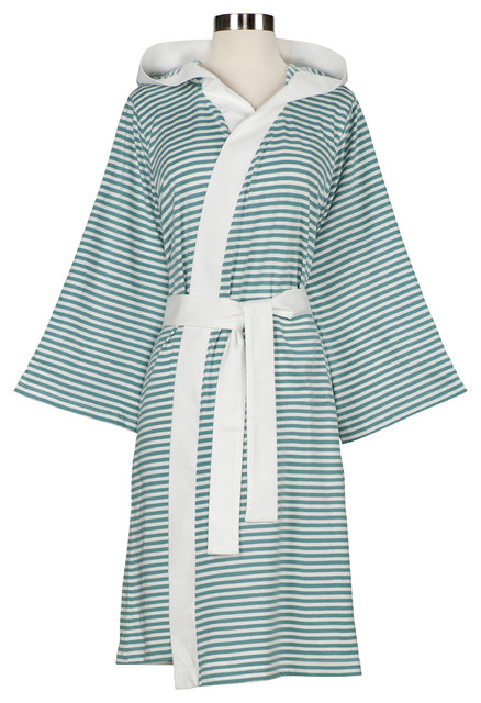 Knee-Length Striped Jersey Knit Robe, White/Teal contemporary-bathrobes