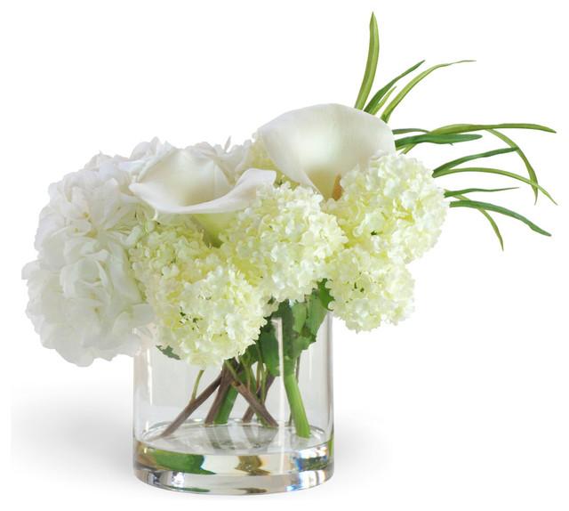 HydrangeaCalla Lily White Flower Arrangement