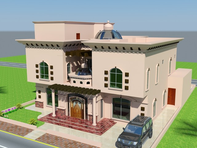 Beautiful Luxury Saudi Arabian Villa 3D front elevation House design ...