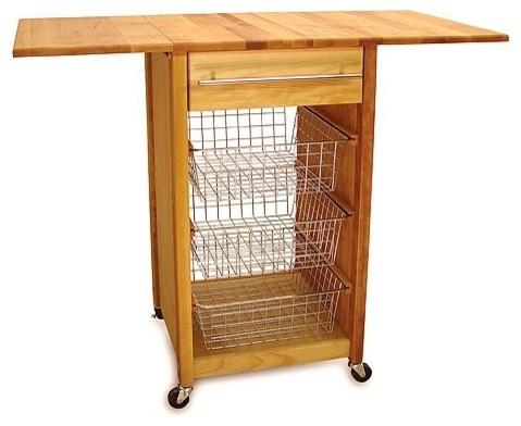 Basket Kitchen Cart with Butcher Block Top modern-kitchen-islands-and-kitchen-carts