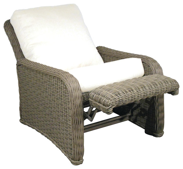 Hauser Coastal All Weather Wicker Recliner With Cushions Traditional Outdoor Lounge Chairs