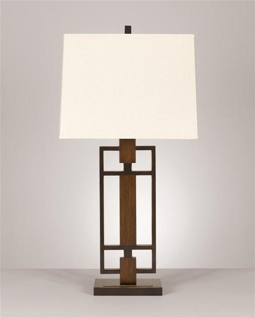 ... Metal Table Lamp w Rectangular Hardbac - Contemporary - Table Lamps