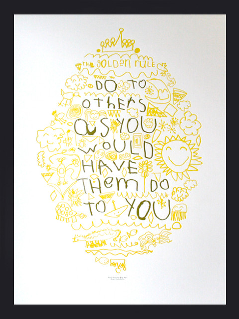 Golden Rule Letterpress Poster eclectic-artwork