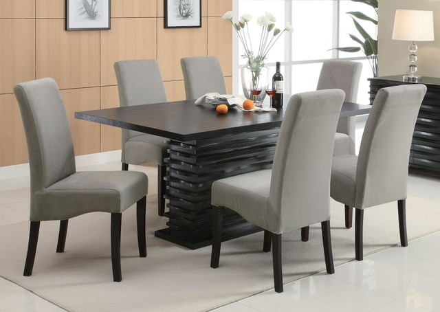 Dining Room Set Modern Table Gray Fabric Chairs Contemporary Dining